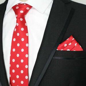 Tie Pocket Set Polka Dot Red and White Handmade 100% Silk Wedding Necktie