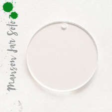 "100 ACRYLIC KEYCHAINS CIRCLE CLEAR  3"" BLANK DISCS 1/16"" THICK- ROUND SHAPES"