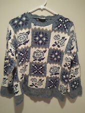 Vintage Ugly Christmas Sweater Tacky - Large L Blue Denim Republic Holiday Flake
