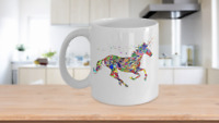 Glitter Unicorn Mug Colorful White Coffee Cup Funny Gift for Majestic Magical