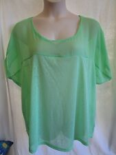 Green Coloured Top, Stretch, Short Dolman Sleeve, Trim, Unlined, Size 22, NEW