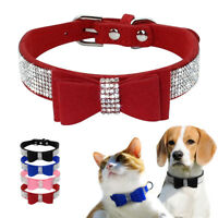 Bling Rhinestone Suede Dog Collar Diamante Bowknot for Puppy Cat Small Pet XXS-M
