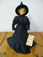 Witch Doll Porcelain w Glass Eyes Handmade Artist Signed Philomena OOAK 1980