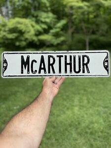 "Original / Vintage Street Sign Heavy Steel Painted 1960s ""McARTHUR"""
