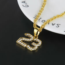 "Hip Hop Gold Plated NO 23 Basketball Pendant Unisex  Necklace 28"" Chain Jewelry"