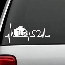 K1088 Camera Heartbeat Lifeline Decal Sticker Car Truck SUV Van Laptop Surface