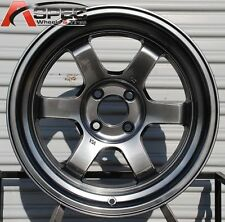 16X8 +0 ROTA GRID V HYPER BLACK RIMS 4X100 FIT BMW E30 E21 2002 MIATA TRACK CAR