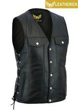 Men Side Lace Denim Style Motorcycle Biker Premium Leather Waistcoat Vest UK