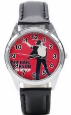 Michael Jackson King of Pop Red Dial Black Leather Band Wrist Watch