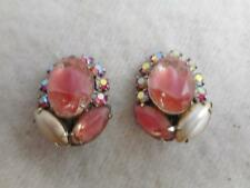 VTG PRE COPYRIGHT CORO POURED GLASS  FAUX PEARL & AB RHINESTONE CLIP ON EARRINGS