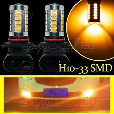 2pcs Yellow H10 33SMD 9145 Projector LED Lens Bulbs For Car Driving Fog Lights