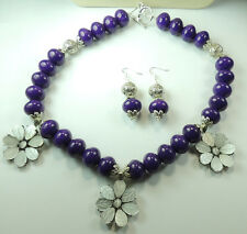 Statement Purple Quartz Necklace with White Cats Eye Flowers & Earrings handmade