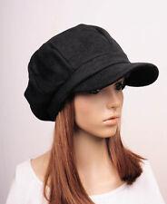 NM341 Black Cute Classic Cotton Blends Newsboy Hat Visor Hunter Cap NWT