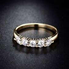 18 K Yellow Gold Filled 4 White Sapphires Eternity Ring Size 8.5