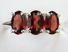 Garnet Three-Stone Ring in Sterling Silver, size 6.75 -- 1.5cts