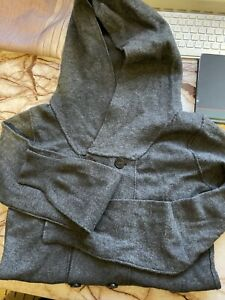 All Saints Mens Button Hoodie, Wool,polyester Cashmere Grey Excellent Condition