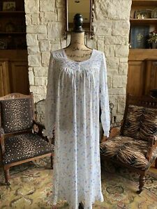 Midi Tea Length White Cotton Nightgown Small Floral Smocked Long Sleeve S