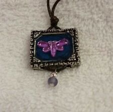 "Framed Purple Dragonfly Pendant with Hanging Bead Charm on Leather Cord, 20"" New"