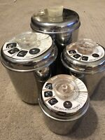 Vintage 1950's Revere Ware Stainless Steel 4 Pc Canister Set Tel-U-Top Lids 1801