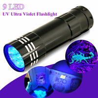 Black 9 LED Mini Aluminum UV Ultra Violet Flashlight Blacklight Torch Light Lamp