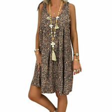 Plus Size Womens Boho T-Shirts Dress Summer Holiday Beach Loose Tunic Sundress