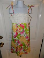 Lilly Pulitzer Patchwork White Ruffle Top Sundress Lined Size 12 Girl's EUC HTF