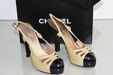 New Chanel Beige Black Patent Leather Glitter Platform Slingback Shoes 37 39