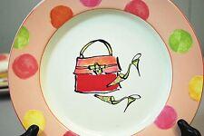 """Rosanna Green High Heels Shoes & Purse - 8.5"""" Dessert Plate Peach Pink Polka Dot"""