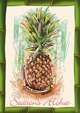 6 Hawaiian Holiday Cards - Hawaii Christmas - Holiday Pineapple - Glitter Card
