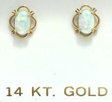 GENUINE 0.92 Carats Australian OPALS 14k Yellow Gold Earrings Screw Backs