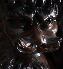 19C Venetian Gothic Carved Walnut Fantasy Myth Triple Winged Griffin/Dragon