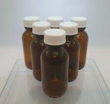6 x Empty 50mL Amber Bottle **Glass**