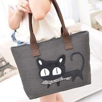 Damen Denim Shopper Handtasche Katze mit Fisch im Maul schwarze NEU.~