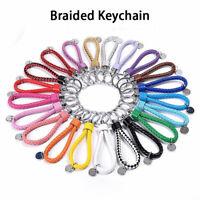 Schlüsselanhänger Metall Ring Leder Geflochten Band Auto Anhänger /Viele Farben