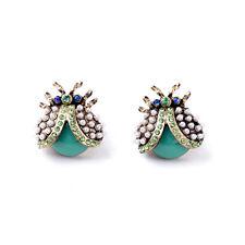 E326 BETSEY JOHNSON Sparkling Green Gems Ladybird Beetle Bug Pearl Earrings US