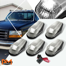 5Pcs Cab Roof Running Light W/Switch Chrome White LED For 80-96 F-Series Pickup