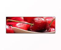 Küchenbild Kirschen Bild auf Leinwand als Kunstdruck gerahmt XXL Druck