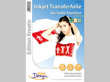 Your Design 8 T-shirt Transferfolien für weiße Textilien A4 Inkjet