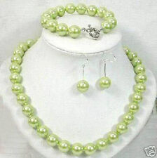 100% Real 1set 8mm Green Sea South Shell Pearl Necklace Bangle Earring AAA++