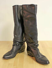 MADE IN ITALY Leather Knee High Riding Boots - Brass Heel Plate Womens 8 AA