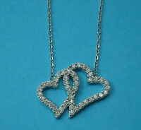 """Solid 925 Sterling Silver 1mm Trace Chain 17""""(43cm) with Open Love Heart Pendant"""
