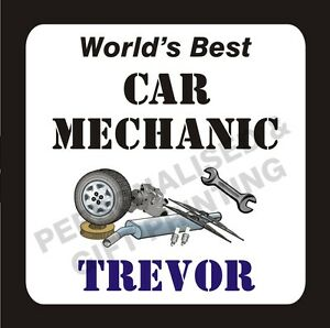 PERSONALISED BEST CAR MECHANIC COASTER GIFT - ANY NAME - BIRTHDAY / FATHER'S DAY