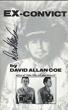 DAVID ALLAN COE SIGNED EX CONVICT BOOK PROOF COA 1st EDITION 1ST PRESSING 1982