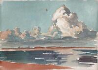 GEORGE GRAINGER SMITH Small Watercolour Painting LIVERPOOL FROM THE MERSEY c1920