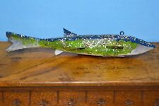 """1-Vintage Antique ICE SPEAR FISH DECOY Hand Carved Bent Tail (Cadillac) 7.5"""" L"""