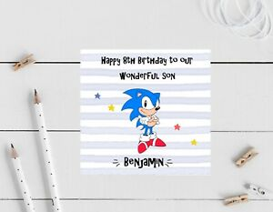 Personalised Birthday card- Sonic Hedgehog- son, nephew, brother, 8th, 5th, 10th
