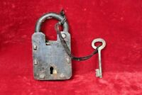 Old Vintage Antique Iron Brass Lock and Key Padlock Collectible BG75