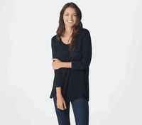 Isaac Mizrahi Live! Essentials Pima Cotton Tulip Hem Tunic Black M A373633