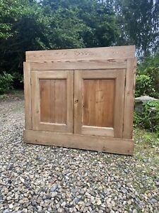 Antique Solid Pine School Larder Hall Linen Storage Cupboard Cabinet