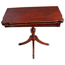 Vintage flip top Game, Kitchen, wall pedestal Table red Mahogany